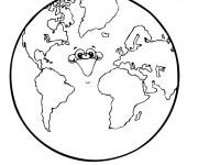 Coloriage Planète Terre qui rit