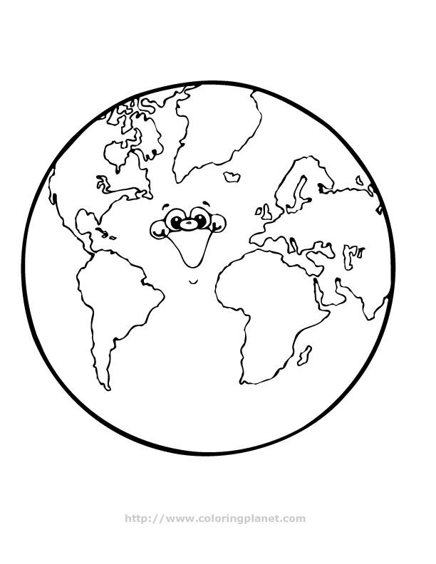Coloriage Planète Terre Qui Rit Dessin Gratuit à Imprimer