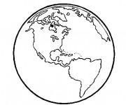 Coloriage Planète Terre vecteur