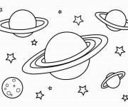 Coloriage et dessins gratuit Planètes dans le Cosmos à imprimer