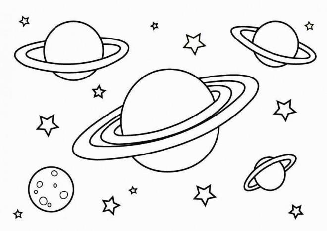 Coloriage et dessins gratuits Planètes dans le Cosmos à imprimer