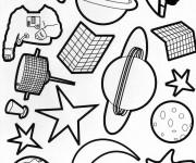 Coloriage et dessins gratuit Planètes et astronautes à imprimer