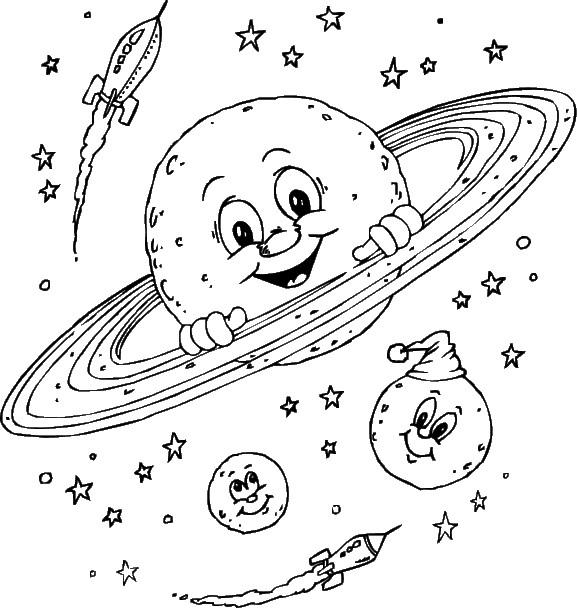 Coloriage et dessins gratuits Planètes et Fusil à imprimer