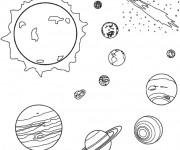 Coloriage et dessins gratuit Planètes et Soleil à imprimer