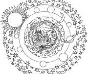 Coloriage et dessins gratuit Planètes mandala à imprimer