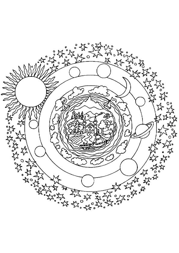 Coloriage et dessins gratuits Planètes mandala à imprimer