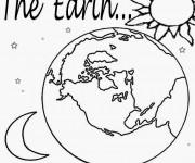 Coloriage terre, Soleil et Lune