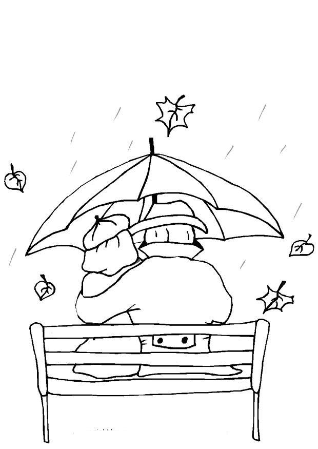 Coloriage et dessins gratuits Amoureux sous la Pluie à imprimer