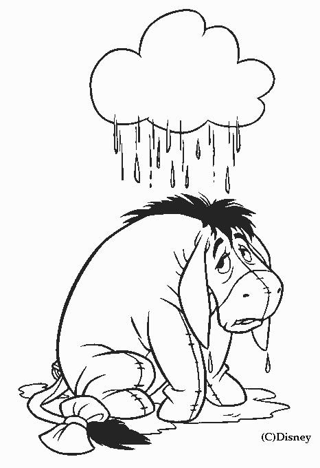 Coloriage et dessins gratuits Âne malheureux sous la Pluie à imprimer