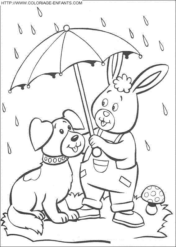 Coloriage et dessins gratuits Animaux et Pluie à imprimer