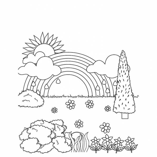 Coloriage et dessins gratuits Après la pluie, le beau temps à imprimer