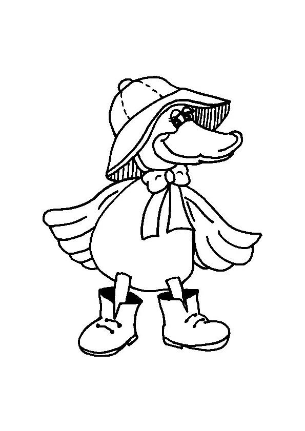 Coloriage canard porte les v tements de pluie - Canard dessin facile ...