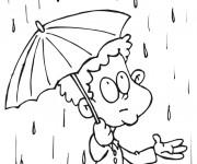 Coloriage Enfant et jour pluvieux