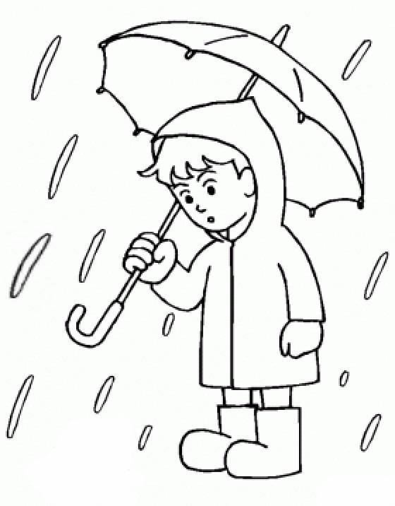 Coloriage Petite Fille Parapluie.Coloriage Enfant Et Pluie En Couleur Dessin Gratuit A Imprimer
