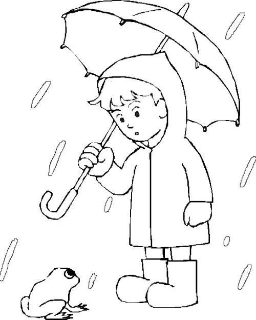 Coloriage Enfant et Pluie stylis s