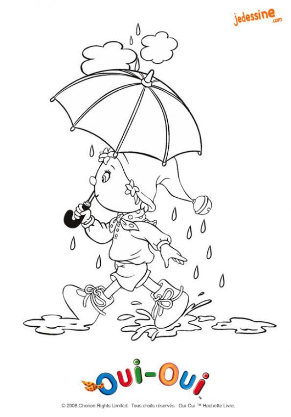 Coloriage et dessins gratuits Fille et Parapluie humoristique à imprimer