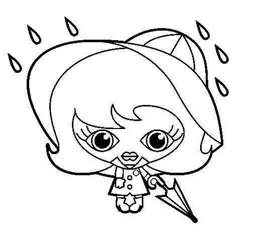 Coloriage et dessins gratuits Fille et Pluie en noir et blanc à imprimer