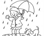 Coloriage Fille et son chien en s'amusant