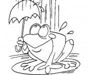Coloriage Grenouille sous la pluie