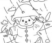 Coloriage et dessins gratuit La fille s'amuse sous la Pluie à imprimer