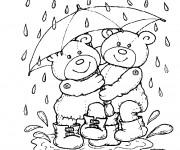 Coloriage et dessins gratuit Ours et Pluie à imprimer