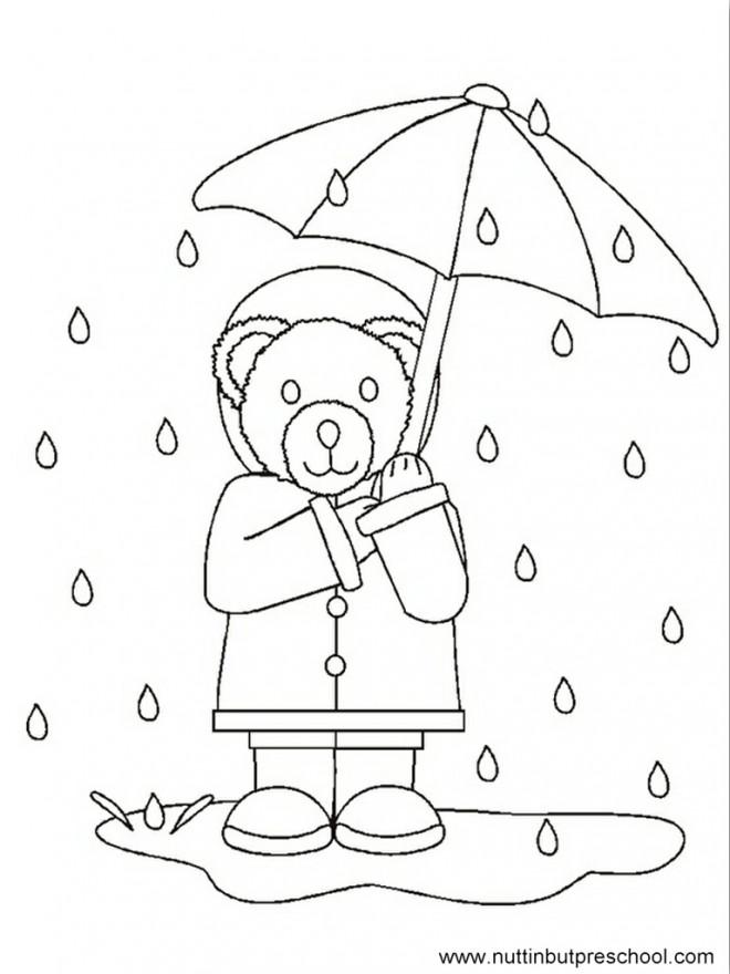 Coloriage et dessins gratuits Ours sous la Pluie à imprimer