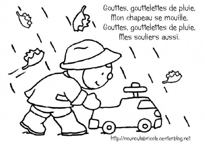 Coloriage et dessins gratuits Petit enfant et Gouttes de Pluie à imprimer
