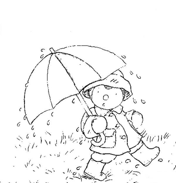 Coloriage et dessins gratuits Petit enfant marche sous la pluie à imprimer