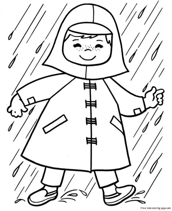 Coloriage et dessins gratuits Pluie en hiver à imprimer