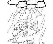 Coloriage Pluie et Parapluie