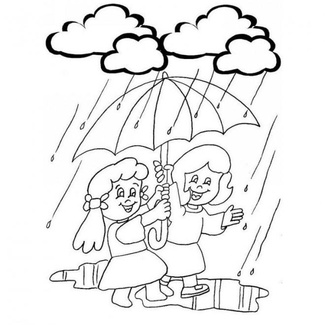 Coloriage Petite Fille Parapluie.Coloriage Pluie Et Parapluie Dessin Gratuit A Imprimer