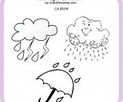 Coloriage Pluie et Parapluie en hiver