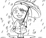 Coloriage Pluie Parapluie