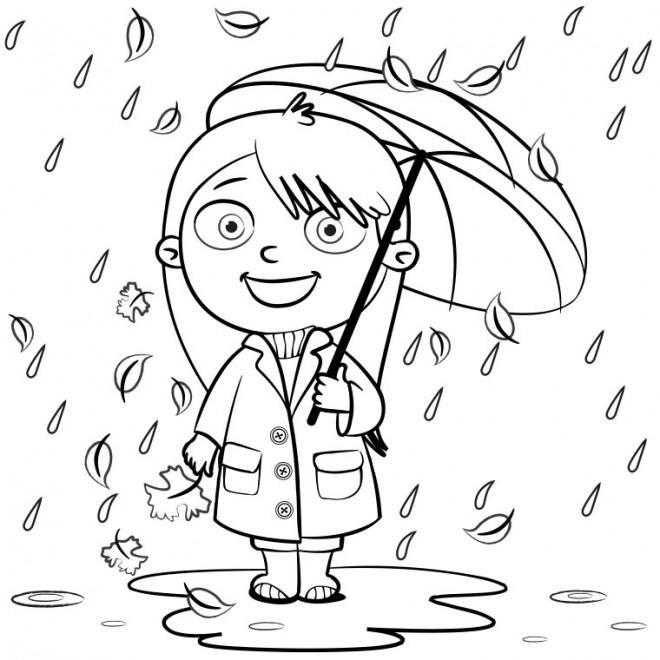 Coloriage et dessins gratuits Pluie Parapluie à imprimer