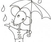 Coloriage Souris et Pluie facile