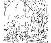 Coloriage et dessins gratuit Souris se protège de la pluie à imprimer