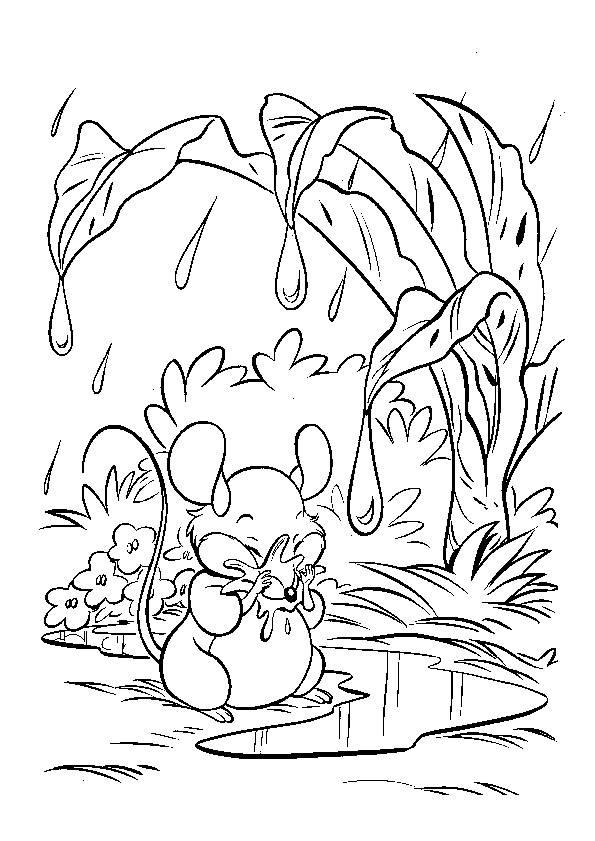Coloriage Souris se protège de la pluie dessin gratuit à imprimer