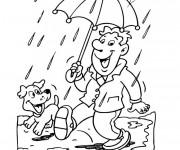 Coloriage Un homme sous la Pluie