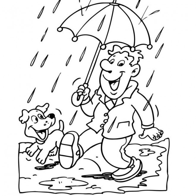 Coloriage et dessins gratuits Un homme sous la Pluie à imprimer