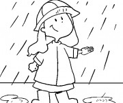 Coloriage Une fille mignonne sous la pluie