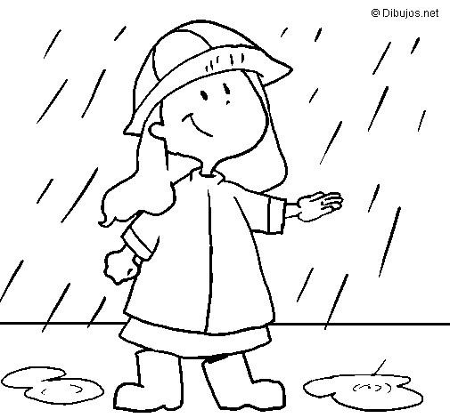 Coloriage et dessins gratuits Une fille mignonne sous la pluie à imprimer