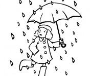 Coloriage Une fille sous la pluie