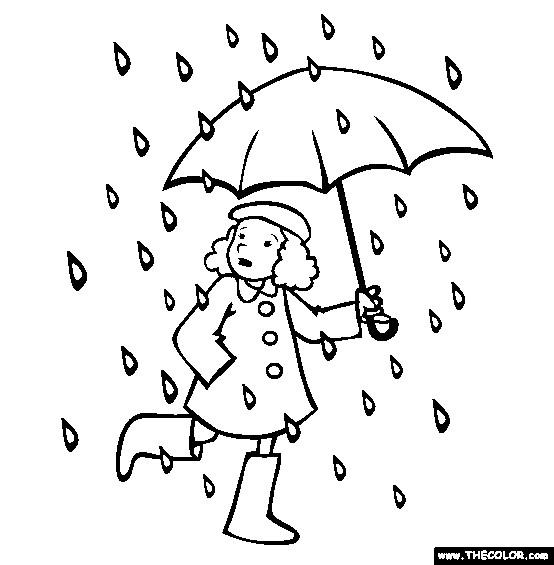 Coloriage et dessins gratuits Une fille sous la pluie à imprimer