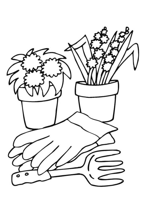 Coloriage Pots De Fleurs Et Accessoires Dessin Gratuit à Imprimer