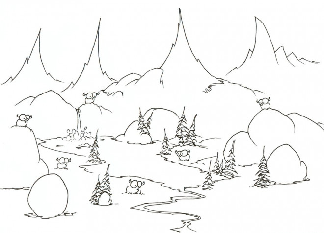 Coloriage animaux de rivi re dessin anim - Immagini da colorare delle montagne ...