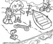 Coloriage Dora et La rivière