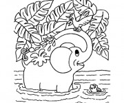 Coloriage Éléphant dans la Rivière