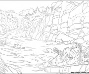Coloriage Famille et loups dans la Rivière