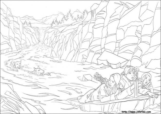 Coloriage et dessins gratuits Famille et loups dans la Rivière à imprimer