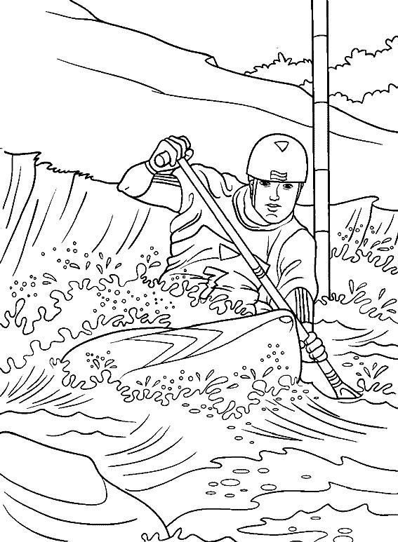 Coloriage et dessins gratuits Kayak de Rivière à imprimer